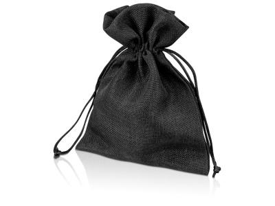 OA1701222982 Мешочек подарочный, искусственный лен, средний, черный