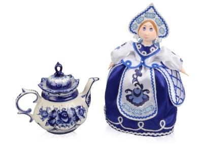 OA1701407812 Набор Гжель: кукла на чайник, чайник заварной с росписью