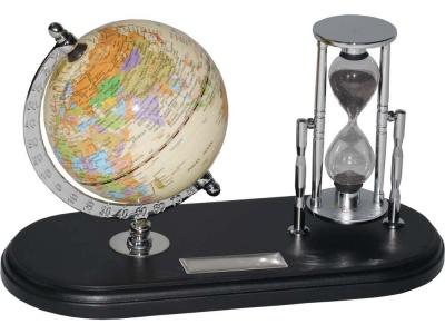 OA20O-BLK6 Набор с глобусом на черной подставке Время и мы, серебристый/черный