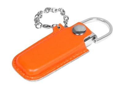 OA2003025352 Флешка в массивном корпусе с кожаным чехлом, 64 Гб, оранжевый