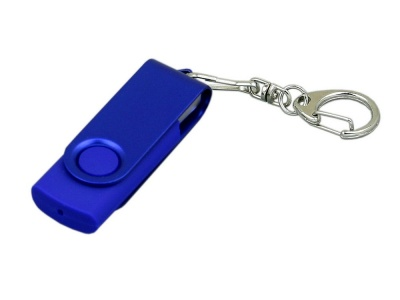 OA2003025389 Флешка промо поворотный механизм, с однотонным металлическим клипом, 64 Гб, синий