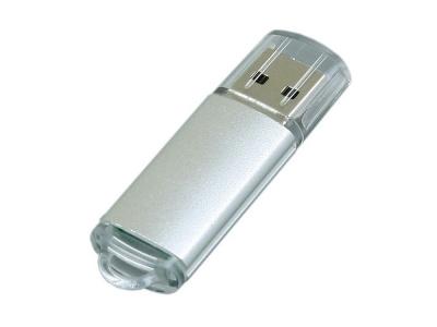 OA2003024927 Флешка промо прямоугольной формы  c прозрачным колпачком, 32 Гб, серебристый