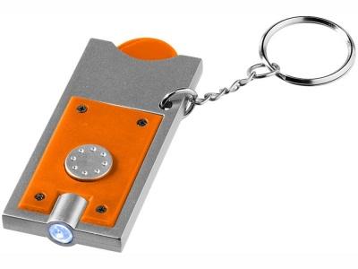 OA15094601 Брелок-держатель для монет Allegro с фонариком, оранжевый/серебристый