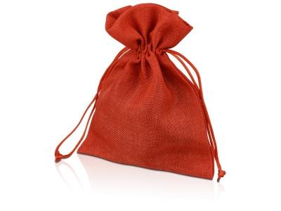 OA1701222981 Мешочек подарочный, искусственный лен, средний, красный
