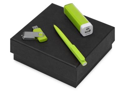OA2003023798 Подарочный набор On-the-go с флешкой, ручкой и зарядным устройством, зеленое яблоко
