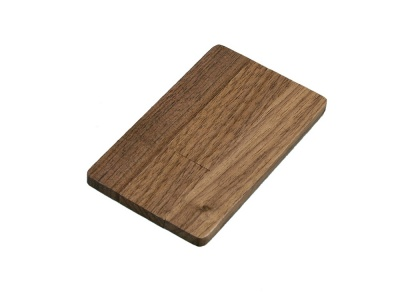 OA2003025008 Флешка в виде деревянной карточки с выдвижным механизмом, 16 Гб, коричневый
