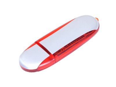 OA2003025128 Флешка промо овальной формы, 16 Гб, серебристый/красный
