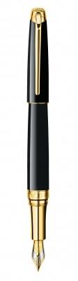 4799.272 Ручка перьевая Carandache Leman Ebony  black lacquered GP F золото 18K двухцветное подар.к