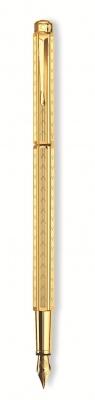 958.198 Ручка перьевая Carandache Ecridor Chevron gilded  F сталь позолоченная подар.кор.