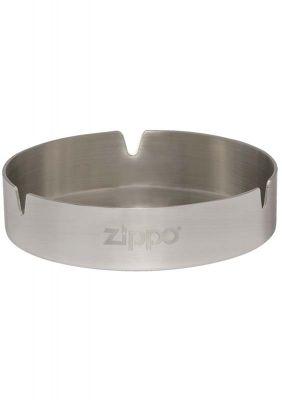 GR1711131194 Zippo. Пепельница ZIPPO, нержавеющая сталь, серебристая с фирменным логотипом, матовая, диаметр 10 см