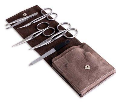 GS184061854 DOVO. Маникюрный набор Dovo, 5пр. Футляр: натур.кожа (вол), цвет серо-коричневый