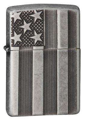 GR171113338 Zippo Зажигалки шиpокие. Зажигалка ZIPPO Armor™ с покрытием Antique Silver Plate™, латунь/сталь, серая, матовая, 36x12x56 мм