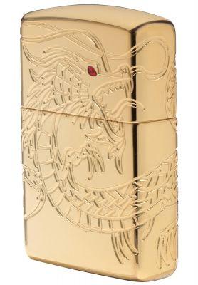 GR171113355 Zippo Зажигалки шиpокие. Зажигалка ZIPPO Armor™ с покрытием High Polish Gold Plate, латунь/сталь, золотистая, глянцевая, 36x12x56 мм
