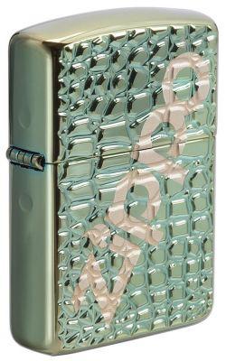 GR171113344 Zippo Зажигалки шиpокие. Зажигалка ZIPPO Armor™ с покрытием Chameleon™, латунь/сталь, зелёная, глянцевая, 36x12x56 мм