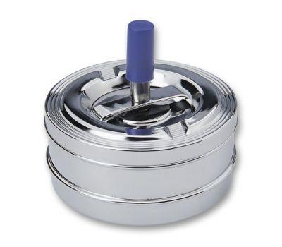 GR1711131186 S.QUIRE. Пепельница S.Quire круглая, сталь, покрытие никель, серебристый, с синей ручкой, 90 мм