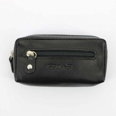 GR171113766 S.QUIRE Кожаная коллекция. Ключница S.Quire, натуральная воловья кожа, черный, гладкая, 11,4 x 6 x 3 см