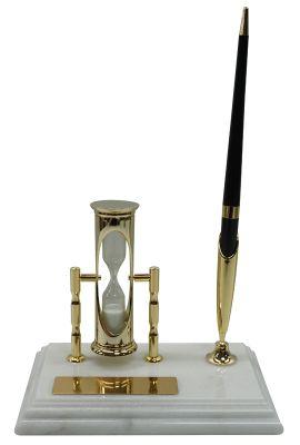 GS1840612 Настольный набор: ручка, песочные часы, 9х14,5х1,8 см, мрамор