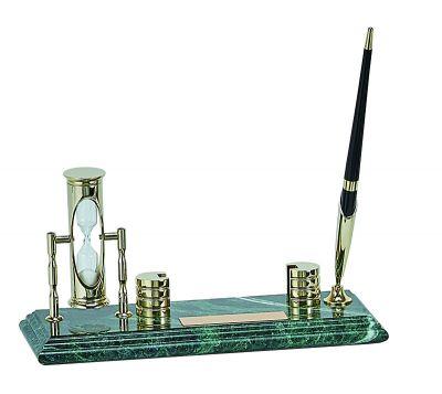 GS1840615 Настольный набор: ручка, песочные часы, держатель для визиток, 9х23х1,8 см, мрамор
