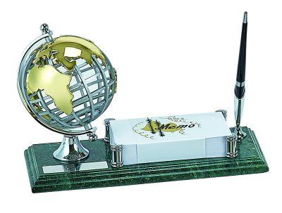 GS1840618 Настольный набор: ручка, держатель для визиток, глобус, 11х26х1,8 см, мрамор