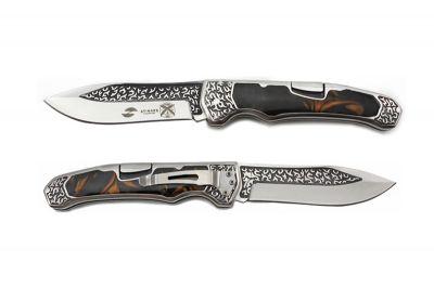 GR1711131080 STINGER Ножи складные STINGER. Нож складной Stinger, 117 мм - длина ножа в закрытом виде, рукоять:нержавеющая сталь/дерево,(коричневый) с клипом, подар.коробка