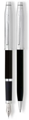 AT0087WG-91MS Набор Cross Century II: шариковая ручка и перьевая ручка. Цвет - черный/серебристый.