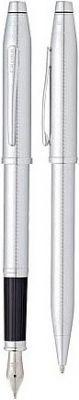 AT0087WG-97MS Набор Cross Century II: шариковая ручка и перьевая ручка. Цвет - серебристый.