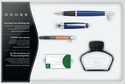 AT0456H-12MS/1 Набор Cross Bailey: перьевая ручка, конвертер, 3 картриджа, флакон чернил. Цвет - глянц. синий