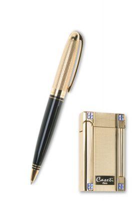 """GR171113900 CASETI Наборы """"Caseti"""": ручка + зажигалка. Набор """"Caseti""""ручка+зажигалка. Ручка шариковая, латунь с позолотой+лак. Зажигалка газовая кремневая, сплав цинка и позолота, кристаллы Svarovski"""