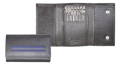 "GR171113763 CASETI Кожаная коллекция ""Caseti"". Ключница ""Caseti"", кожа тисненая черная, 10,2 х 6,5 см"