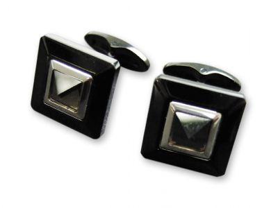 """GR171113716 CASETI Элегантные мужские украшения. Запонки """"Caseti"""", сталь с темным хром.покрытием, камень кварцит, 1,5 x 1,5 x 1,9 см"""