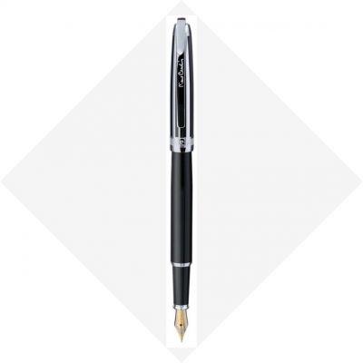 PC5009FP-B10 Перьевая ручка Pierre Cardin PROGRESS. Корпус - латунь, глянцевый лак; колпачок - контрастные полосы лака и хрома.