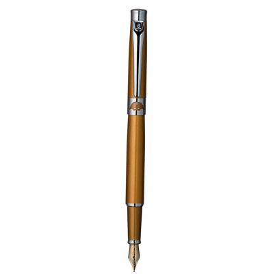PC6702FP Перьевая ручка Pierre Cardin VENEZIA. Корпус  - латунь и лак. Отделка и детали дизайна -  хром, венецианская маска с заливкой оранжевым лаком на кольц