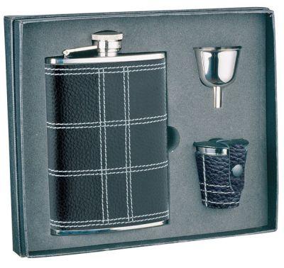 GR171113912 S.QUIRE. Набор S.Quire: фляга NCTB08-3175 + стаканчики 3шт по 30 мл + воронка d=40 мм, сталь, натуральная кожа, картонная коробка