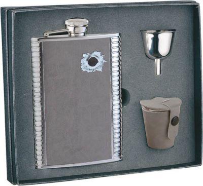 GR171113910 S.QUIRE. Набор S.Quire: фляга 1508YGB-7-B + стаканчики 3шт по 30 мл + воронка d=40 мм, сталь, искусственная кожа, картонная коробка