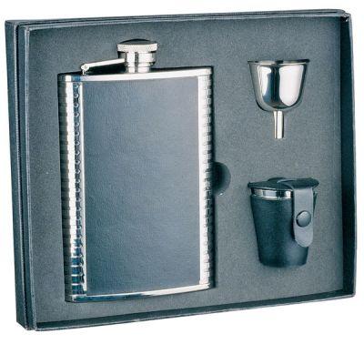 GR171113909 S.QUIRE. Набор S.Quire: фляга 1508YGB + стаканчики 3шт по 30 мл + воронка d=40 мм, сталь, натуральная кожа, картонная коробка