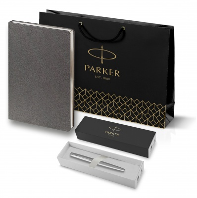 20311105.100946 Подарочный набор:Ручка перьевая Parker Jotter Stainless Steel  и Ежедневник Saffian недатированный  серый
