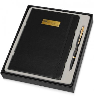 1931576MAL3 Набор с гравировкой: Блокнот и Шариковая ручка Parker Urban, Muted Black GT, K309