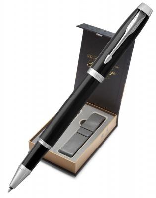 1931658covernew Подарочный набор: Чехол под ручку и Ручка-роллер Parker IM Metal, цвет: Black CT