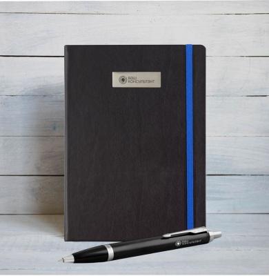 1931665mal Набор с гравировкой: Блокнот и Шариковая ручка Parker IM Metal Black CT