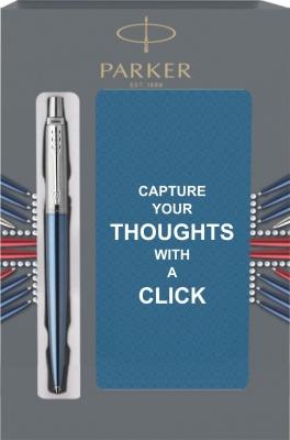 1953191Cover Подарочный набор с блокнотом и Шариковая ручка Parker Jotter Essential, Waterloo Blue CT