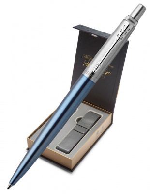 1953191CoverNew Подарочный набор с чехлом и Шариковая ручка Parker Jotter Essential, цвет: голубой CT