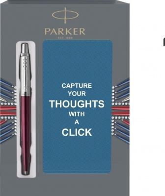1953192Cover Подарочный набор с блокнотом и Шариковая ручка Parker Jotter Essential, Portobello Purple CT