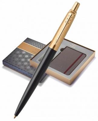 1953202GiftBox Подарочный набор: Блокнот и Шариковая ручка Parker Jotter Premium, Bond Street Black GT