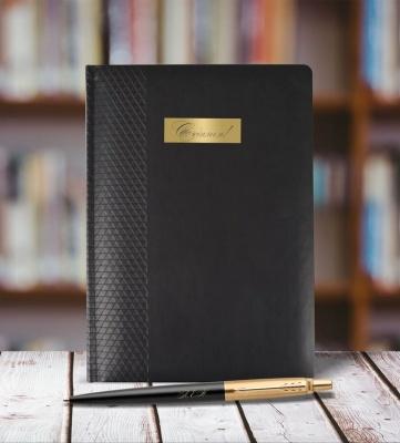 1953202mal Набор с гравировкой: Ежедневник недатированный и Шариковая ручка Parker Jotter NEW - Premium, Bond Street Black GT