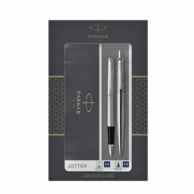 2093258 Набор из 2х ручек в подарочной коробке  «Паркер Джоттер Стэнли Стил Си Ти».  Перьевая ручка и шариковая ручка. Произведено во Франции.