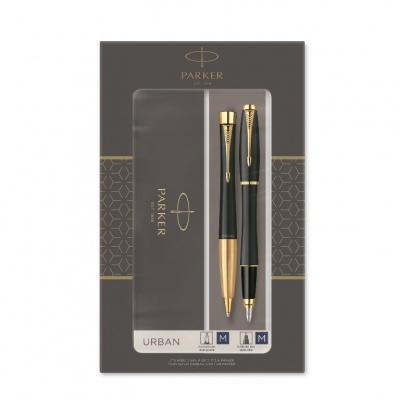 2093381 Подарочный набор из 2-х ручек Parker URBAN Matte black GT перьевая+шариковая ручки
