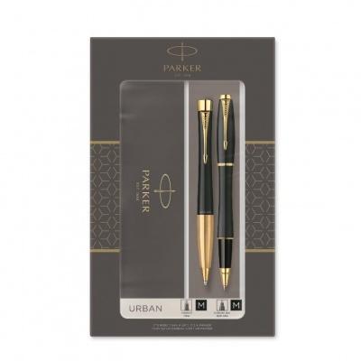2093382 Подарочный набор из 2-х ручек Parker URBAN Matt black GT роллер+шариковая ручки