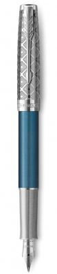 2119743 Перьевая ручка Parker Sonnet Premium Refresh BLUE, перо 18K, толщина F, цвет чернил black, подарочной упаковке