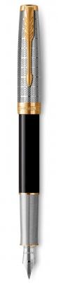 2119784 Перьевая ручка Parker Sonnet Premium Refresh BLACK, перо 18K, толщина F, цвет чернил black, в подарочной упаковке