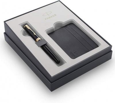 2121991 Подарочный набор Parker Sonnet с перьевой ручкой и футляром для карточек  Black GT, перо M, чернила синие